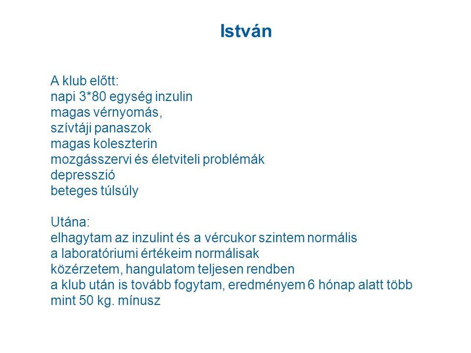 István A klub előtt: napi 3*80 egység inzulin magas vérnyomás,