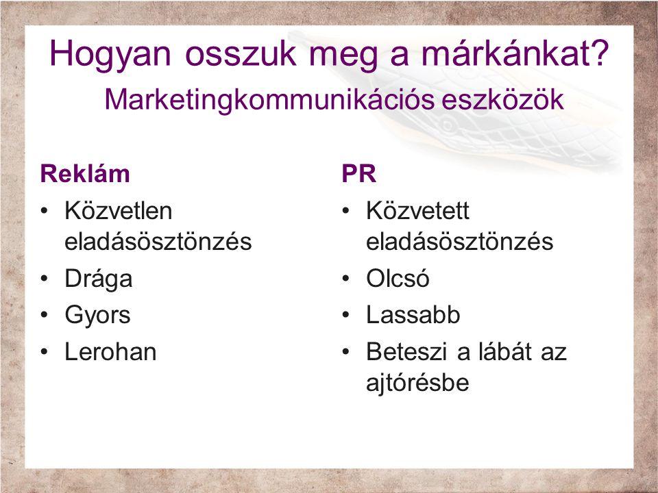 Hogyan osszuk meg a márkánkat Marketingkommunikációs eszközök