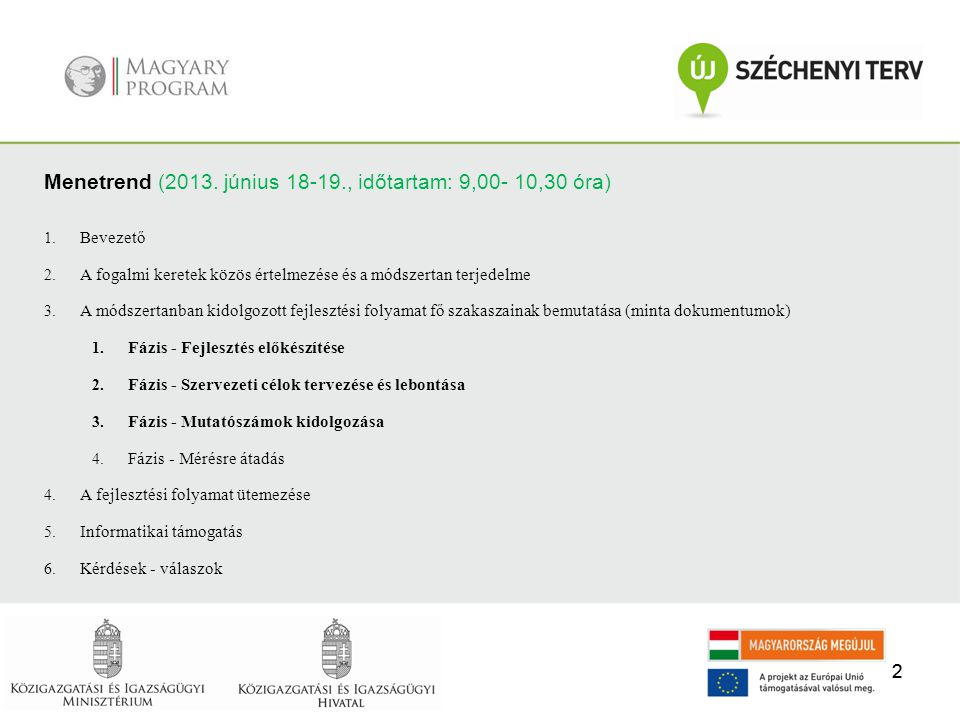 Menetrend (2013. június 18-19., időtartam: 9,00- 10,30 óra)
