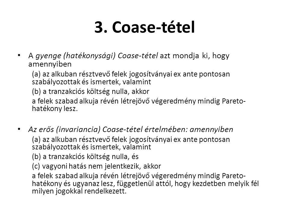 3. Coase-tétel A gyenge (hatékonysági) Coase-tétel azt mondja ki, hogy amennyiben.