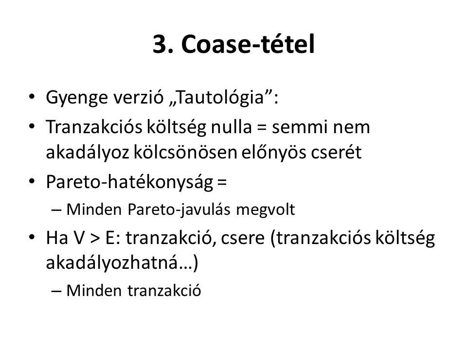 """3. Coase-tétel Gyenge verzió """"Tautológia :"""