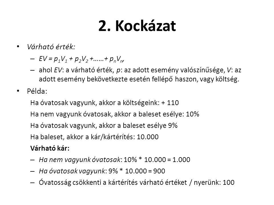 2. Kockázat Várható érték: Példa: EV = p1V1 + p2V2 +……+ pnVn,