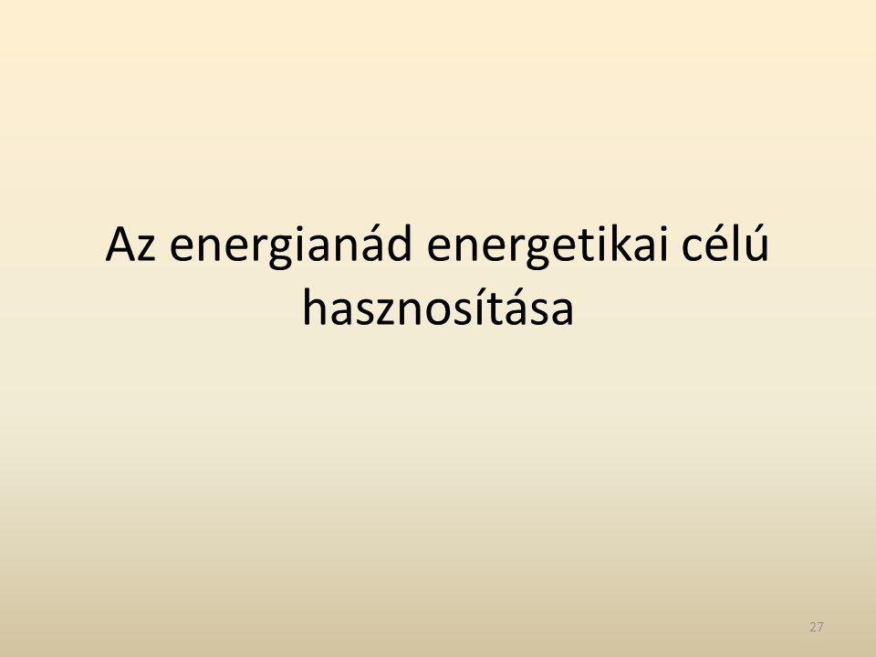 Az energianád energetikai célú hasznosítása