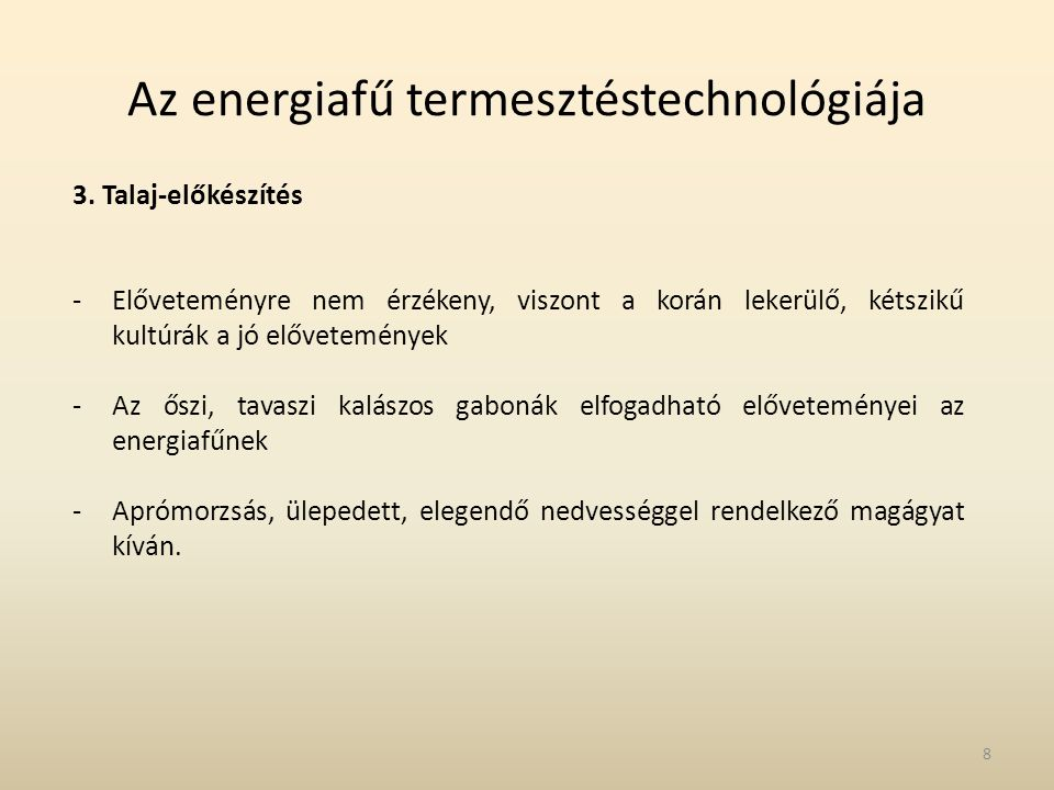Az energiafű termesztéstechnológiája