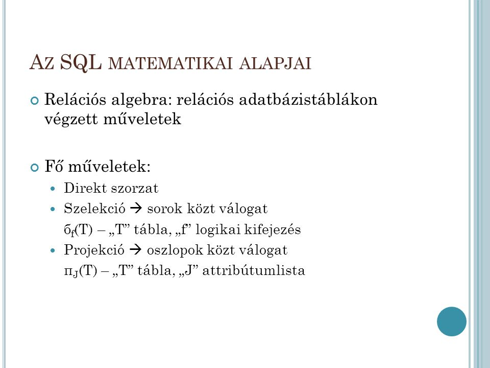 Az SQL matematikai alapjai
