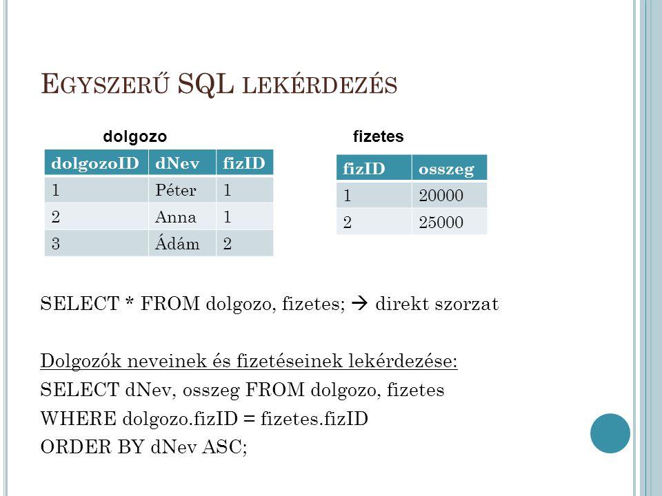 Egyszerű SQL lekérdezés