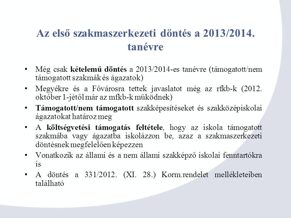 Az első szakmaszerkezeti döntés a 2013/2014. tanévre