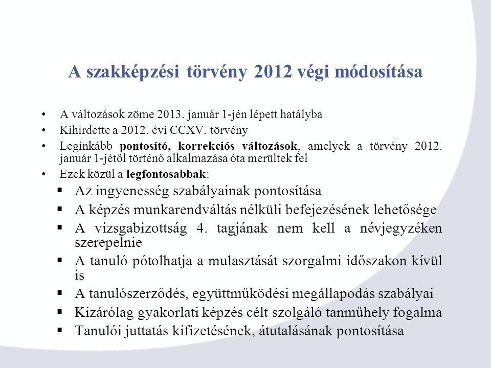 A szakképzési törvény 2012 végi módosítása