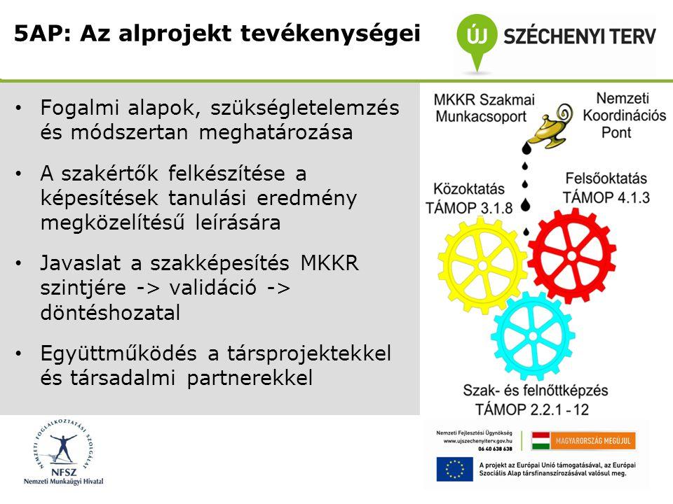 5AP: Az alprojekt tevékenységei
