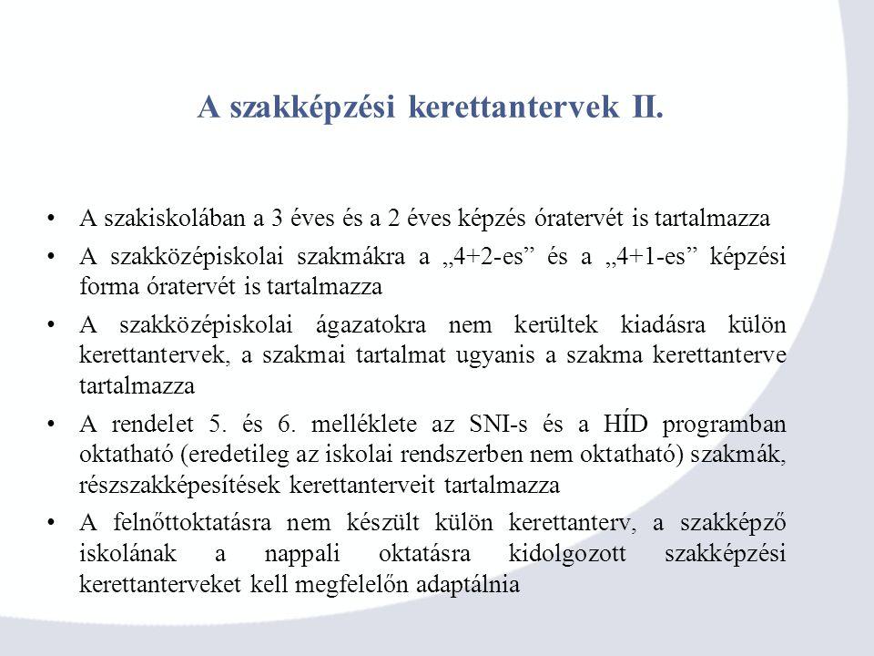 A szakképzési kerettantervek II.