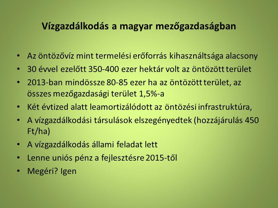 Vízgazdálkodás a magyar mezőgazdaságban