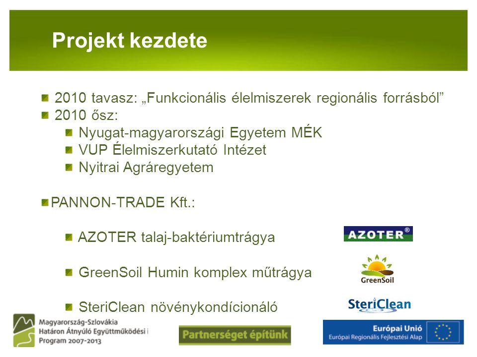 """Projekt kezdete 2010 tavasz: """"Funkcionális élelmiszerek regionális forrásból 2010 ősz: Nyugat-magyarországi Egyetem MÉK."""