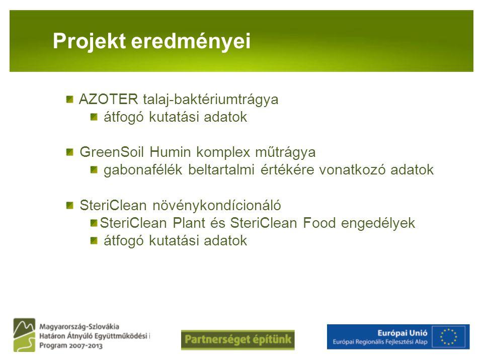 Projekt eredményei AZOTER talaj-baktériumtrágya átfogó kutatási adatok