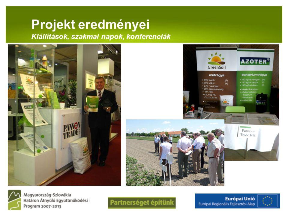 Projekt eredményei Kiállítások, szakmai napok, konferenciák