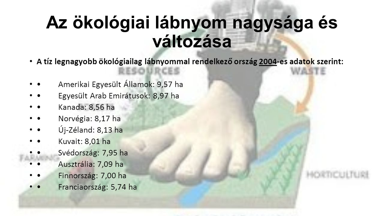 Az ökológiai lábnyom nagysága és változása