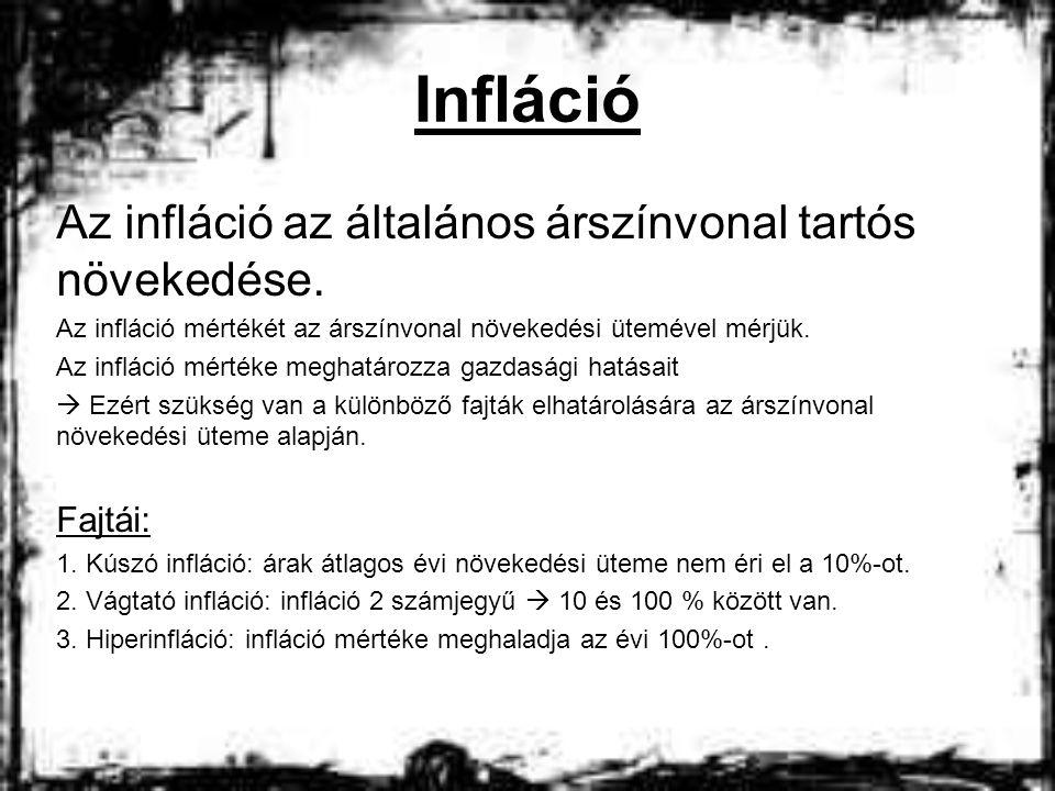Infláció Az infláció az általános árszínvonal tartós növekedése.