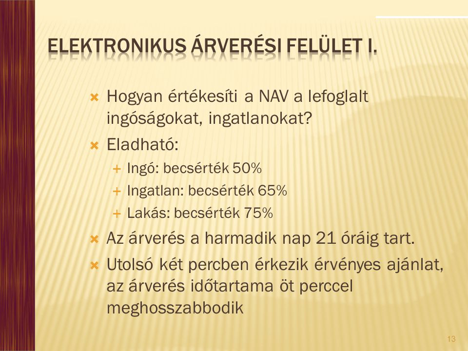 Elektronikus Árverési Felület I.