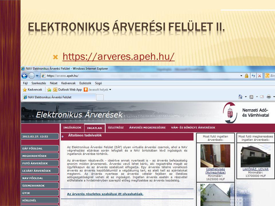 Elektronikus Árverési Felület II.
