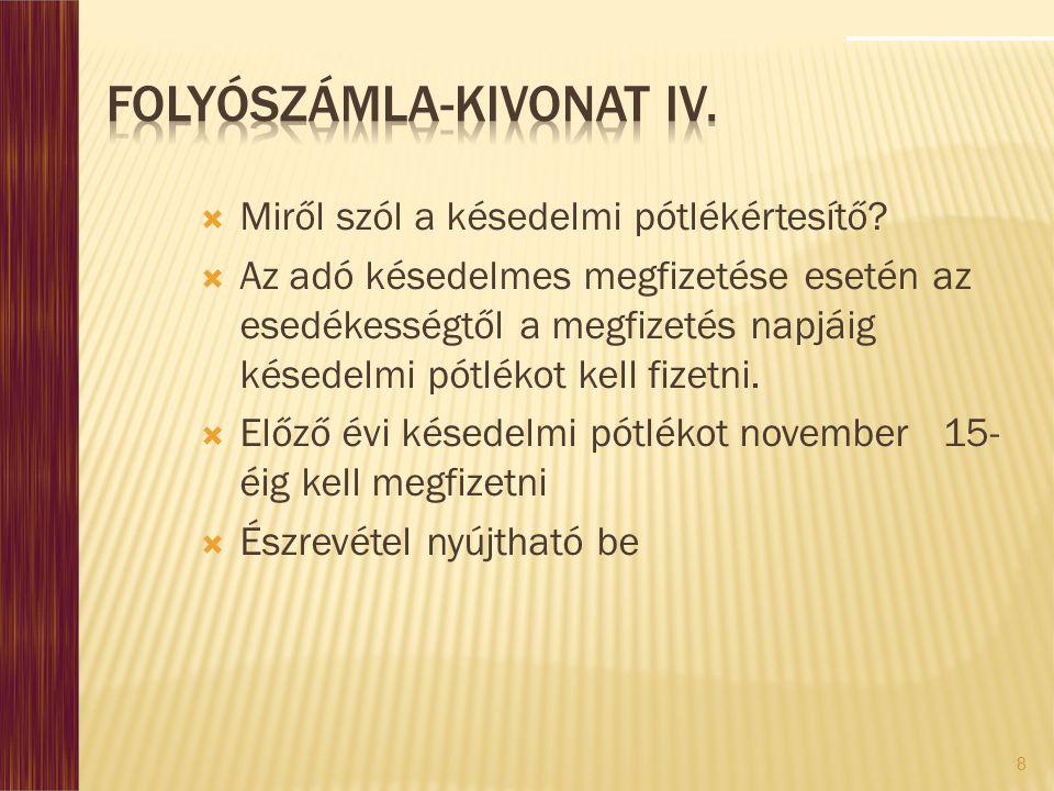 Folyószámla-kivonat IV.