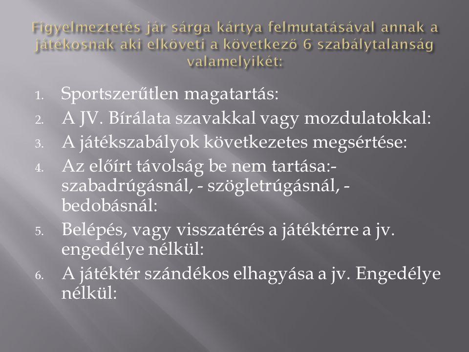 Sportszerűtlen magatartás: