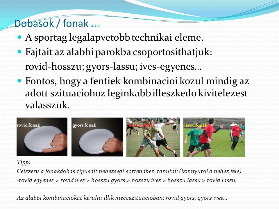 Dobasok / fonak 2.1.1 A sportag legalapvetobb technikai eleme.