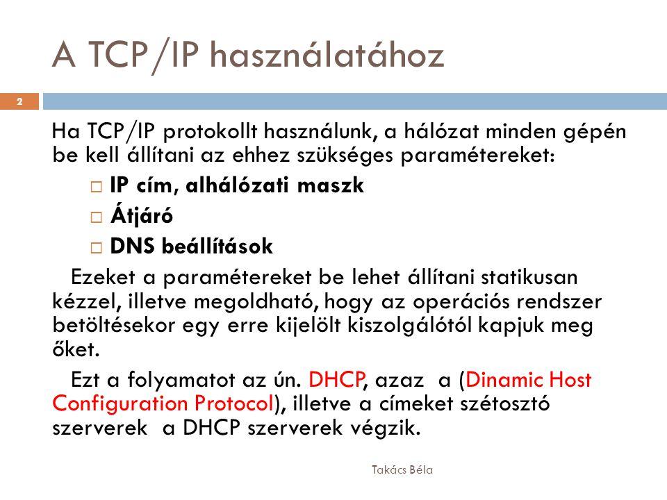 A TCP/IP használatához