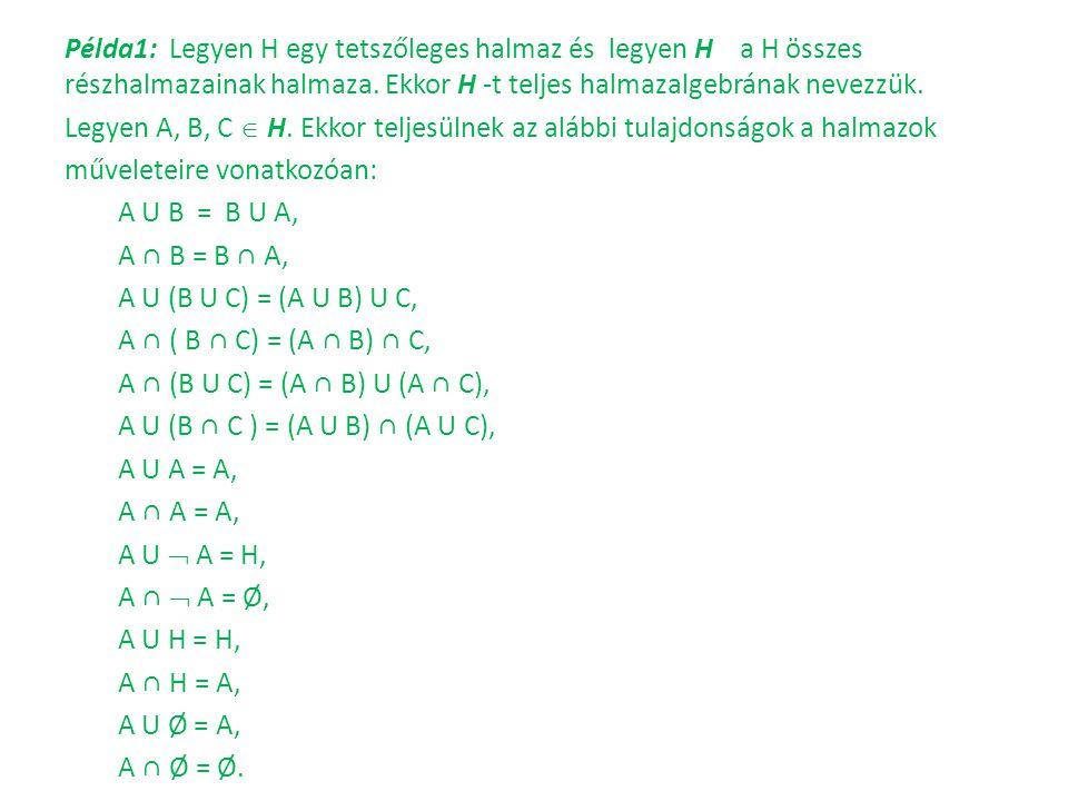 Példa1: Legyen H egy tetszőleges halmaz és legyen H a H összes részhalmazainak halmaza.