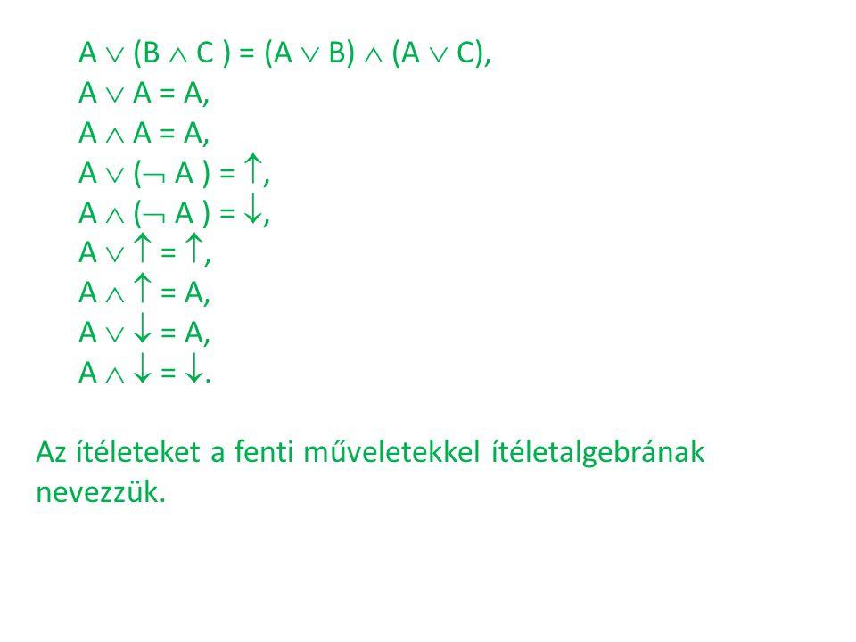 A  (B  C ) = (A  B)  (A  C), A  A = A, A  A = A, A  ( A ) = , A  ( A ) = , A   = ,