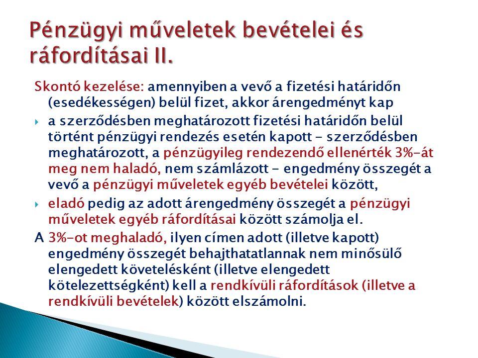 Pénzügyi műveletek bevételei és ráfordításai II.