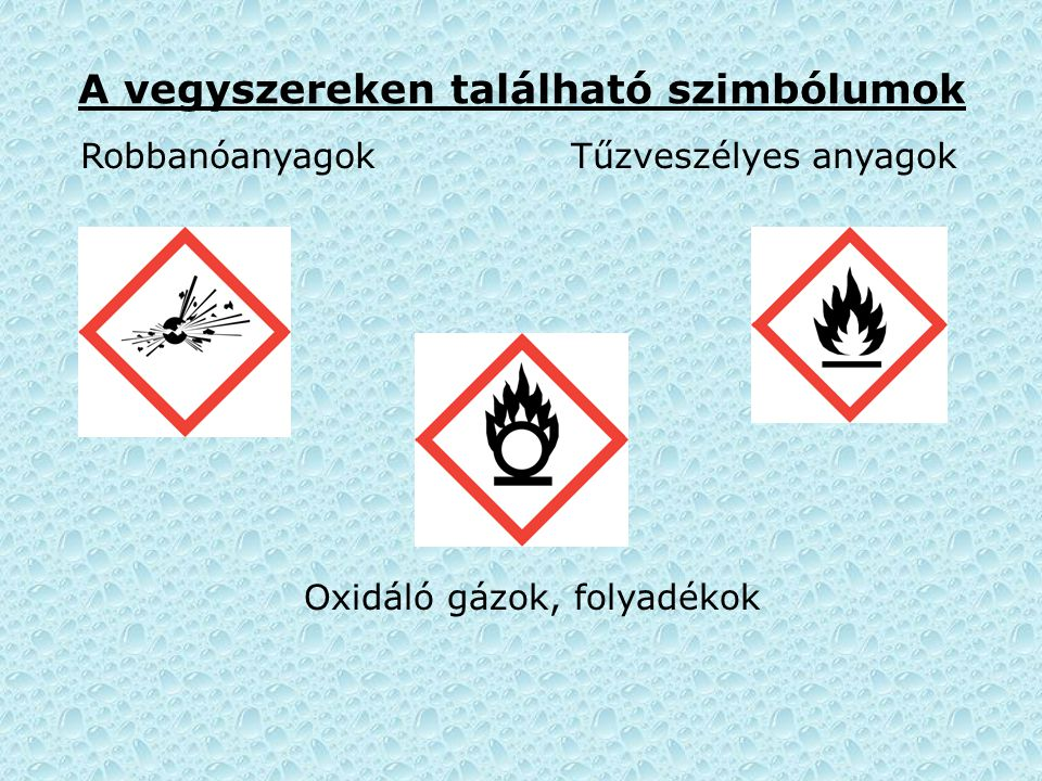 A vegyszereken található szimbólumok