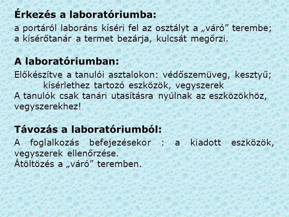 Érkezés a laboratóriumba: