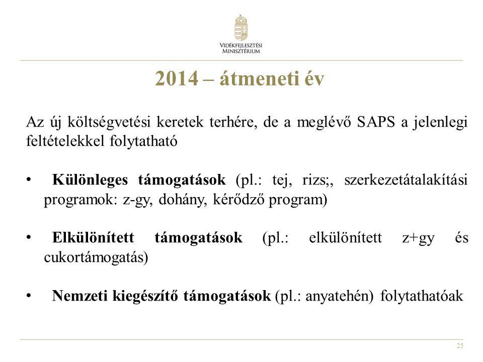 2014 – átmeneti év Az új költségvetési keretek terhére, de a meglévő SAPS a jelenlegi feltételekkel folytatható.