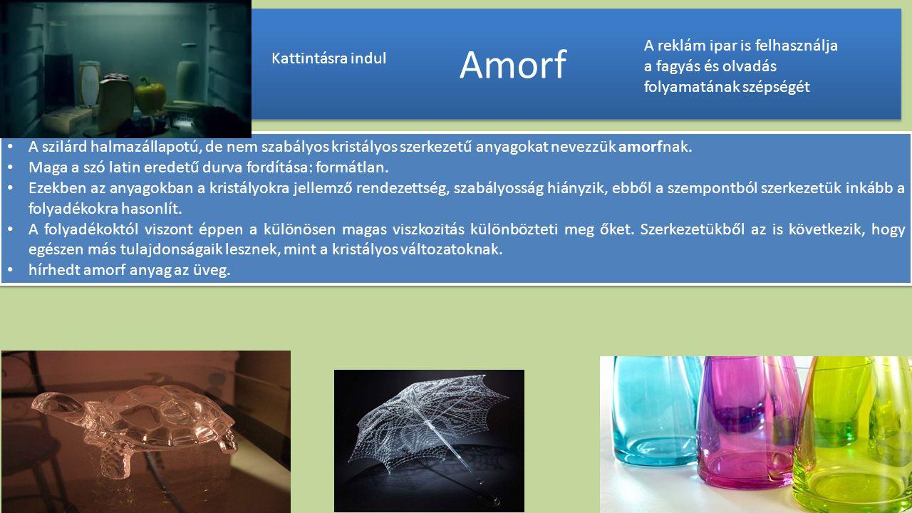 Amorf A reklám ipar is felhasználja a fagyás és olvadás folyamatának szépségét. Kattintásra indul.