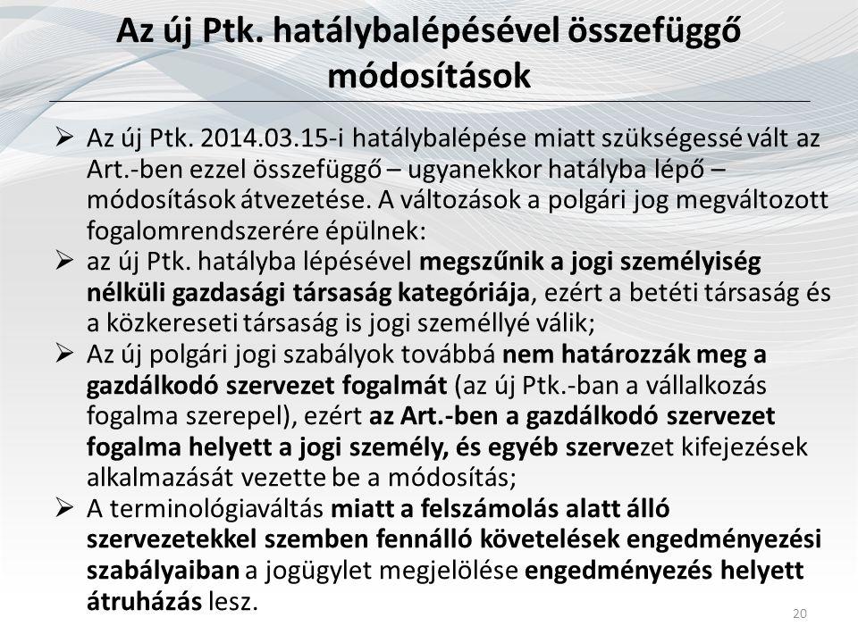 Az új Ptk. hatálybalépésével összefüggő módosítások