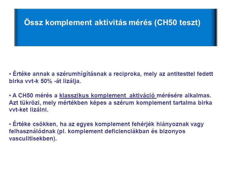 Össz komplement aktivitás mérés (CH50 teszt)
