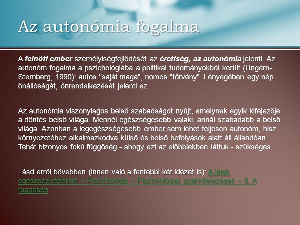 Az autonómia fogalma