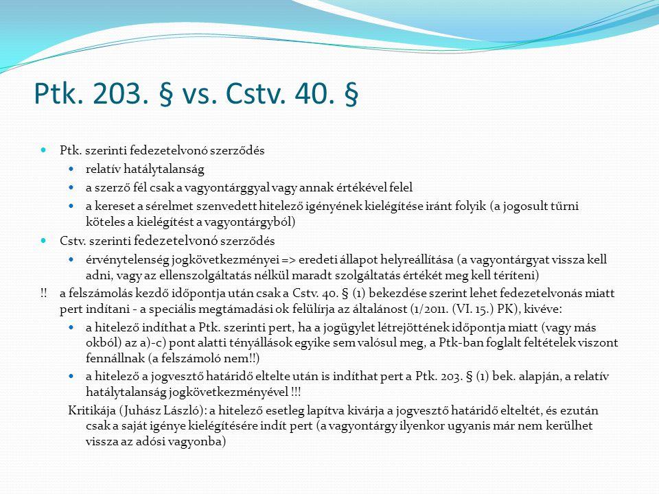Ptk. 203. § vs. Cstv. 40. § Ptk. szerinti fedezetelvonó szerződés