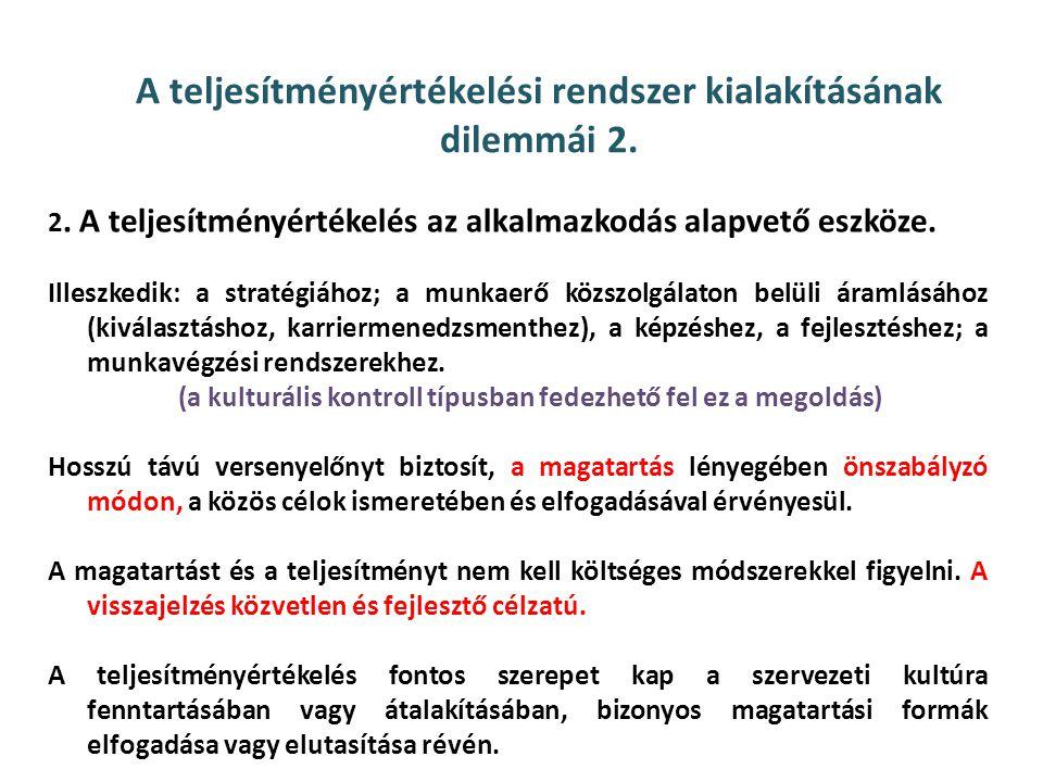 A teljesítményértékelési rendszer kialakításának dilemmái 2.