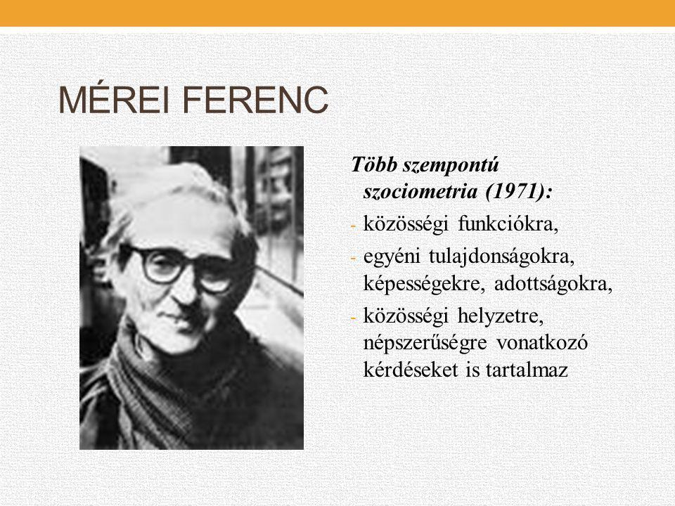 MÉREI FERENC Több szempontú szociometria (1971): közösségi funkciókra,