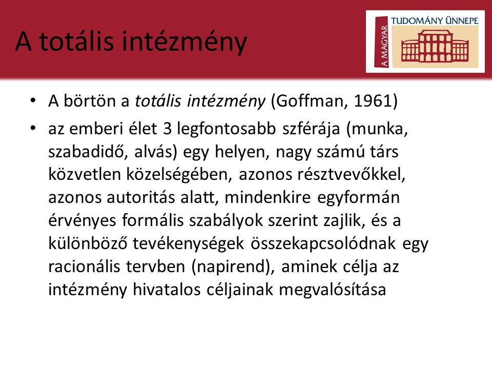 A totális intézmény A börtön a totális intézmény (Goffman, 1961)