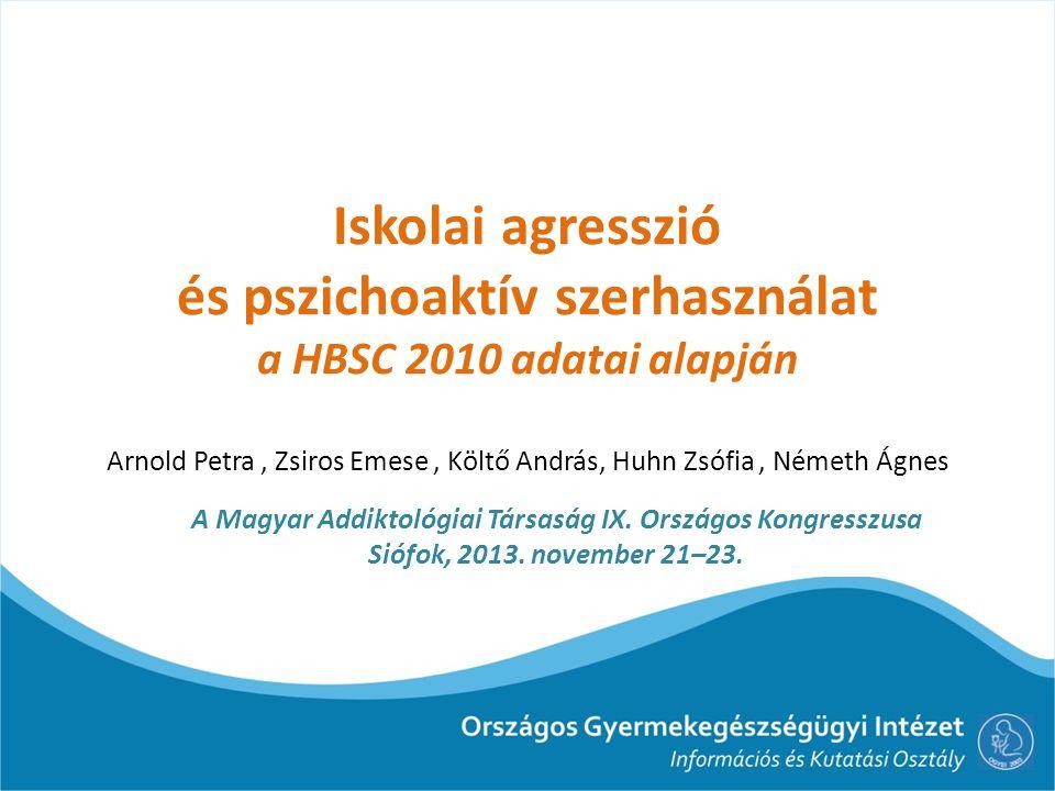 Iskolai agresszió és pszichoaktív szerhasználat a HBSC 2010 adatai alapján Arnold Petra , Zsiros Emese , Költő András, Huhn Zsófia , Németh Ágnes