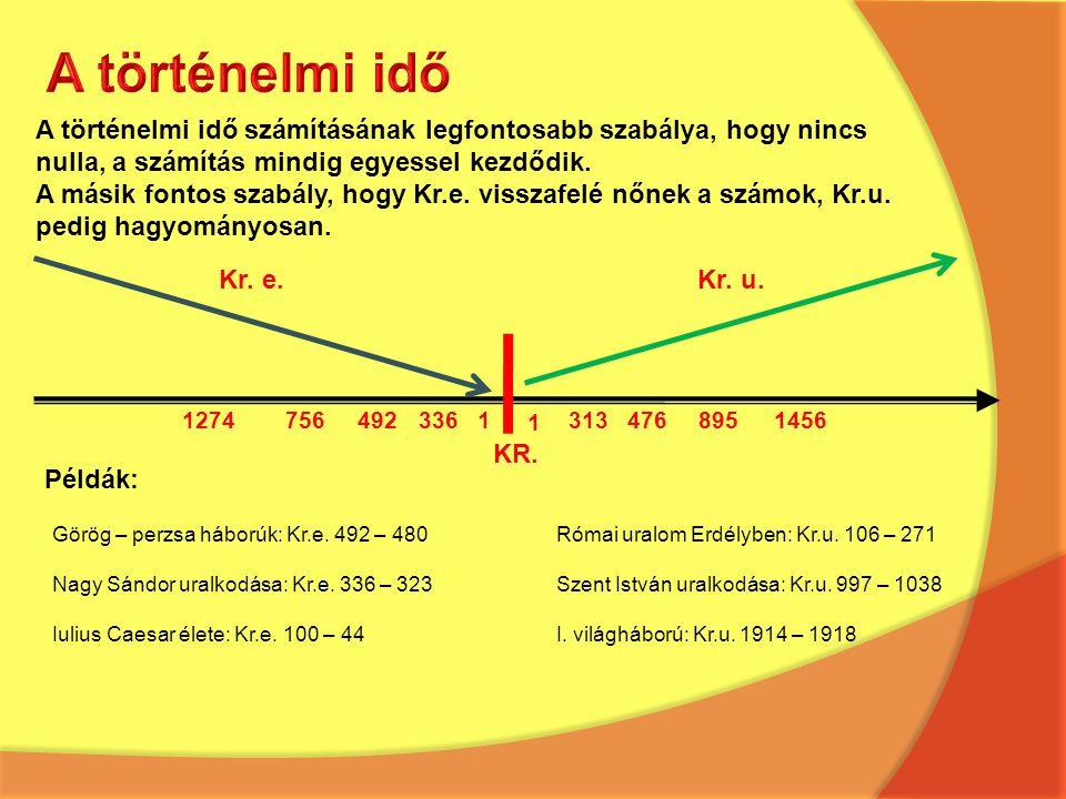A történelmi idő A történelmi idő számításának legfontosabb szabálya, hogy nincs. nulla, a számítás mindig egyessel kezdődik.