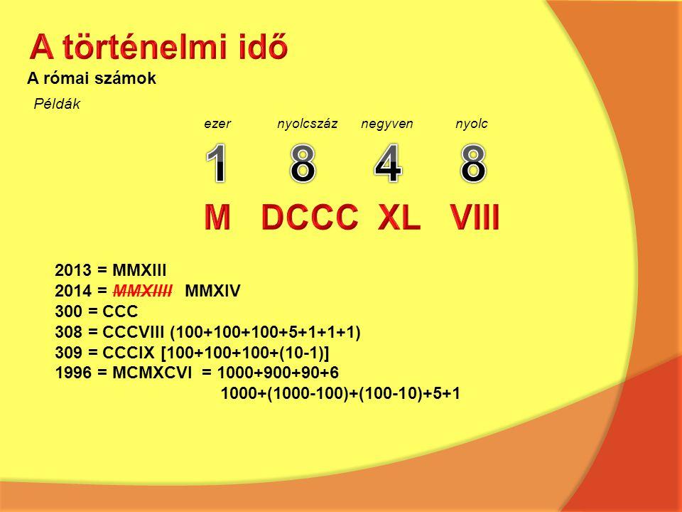 1 8 4 8 A történelmi idő M DCCC XL VIII A római számok 2013 = MMXIII