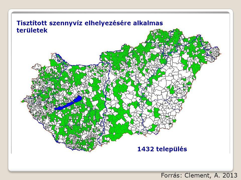 Tisztított szennyvíz elhelyezésére alkalmas területek