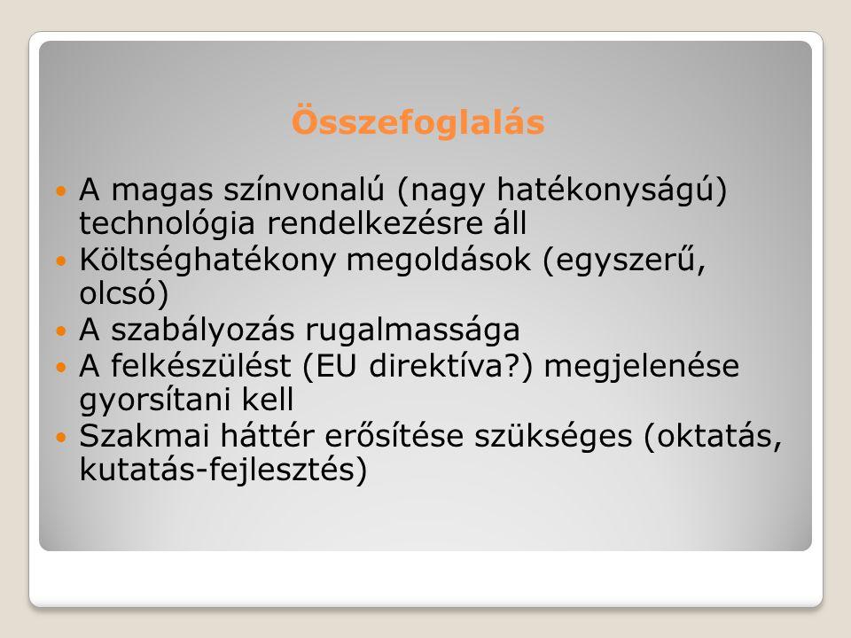 Összefoglalás A magas színvonalú (nagy hatékonyságú) technológia rendelkezésre áll. Költséghatékony megoldások (egyszerű, olcsó)