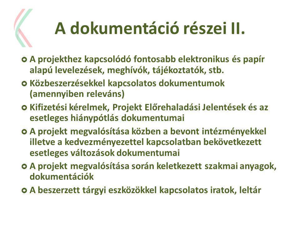 A dokumentáció részei II.