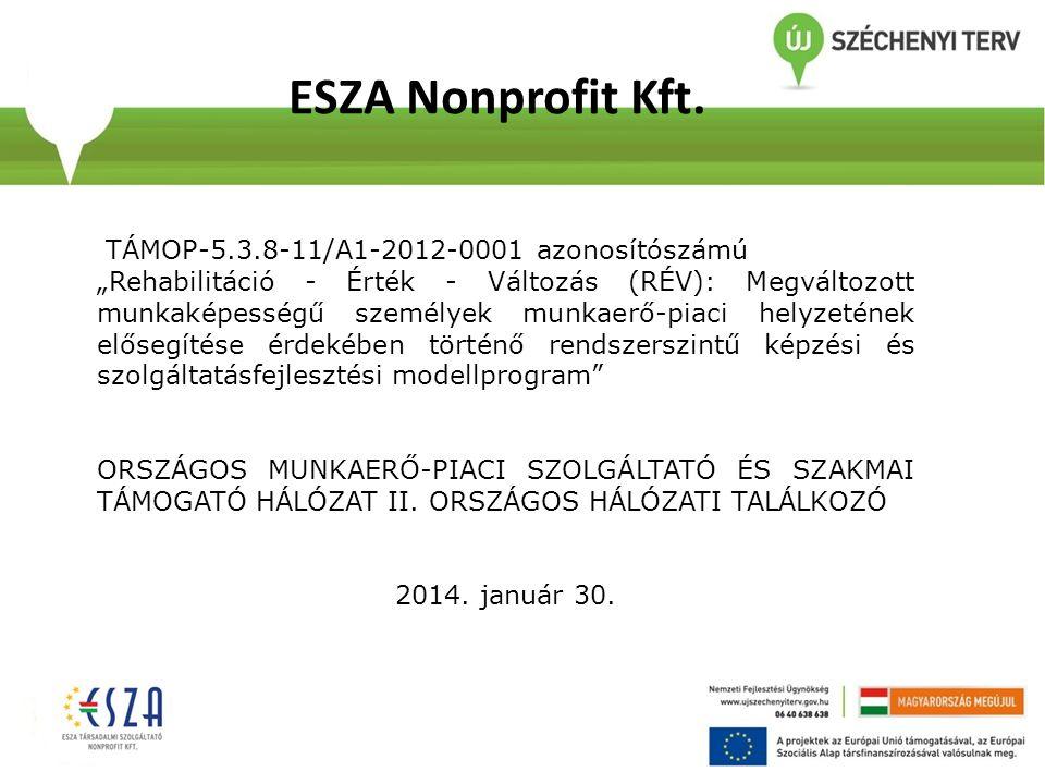 ESZA Nonprofit Kft. TÁMOP-5.3.8-11/A1-2012-0001 azonosítószámú