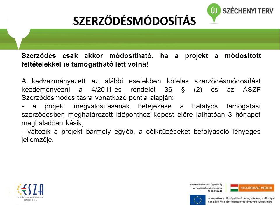 SZERZŐDÉSMÓDOSÍTÁS Szerződés csak akkor módosítható, ha a projekt a módosított feltételekkel is támogatható lett volna!