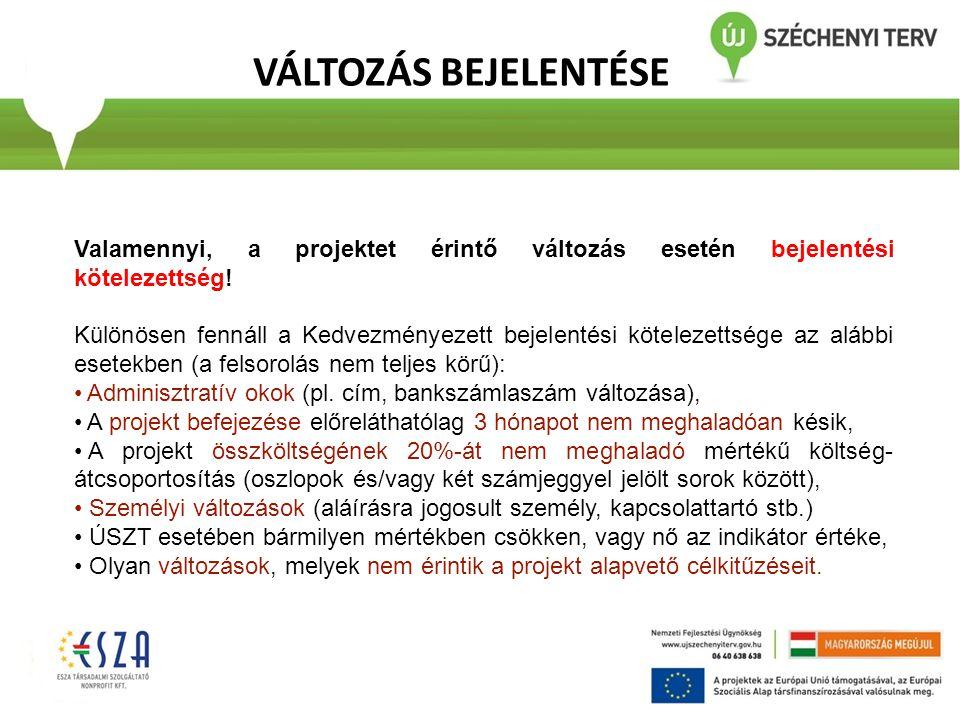 VÁLTOZÁS BEJELENTÉSE Valamennyi, a projektet érintő változás esetén bejelentési kötelezettség!