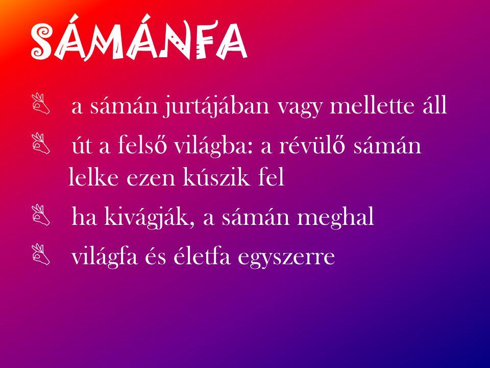 SÁMÁNFA a sámán jurtájában vagy mellette áll